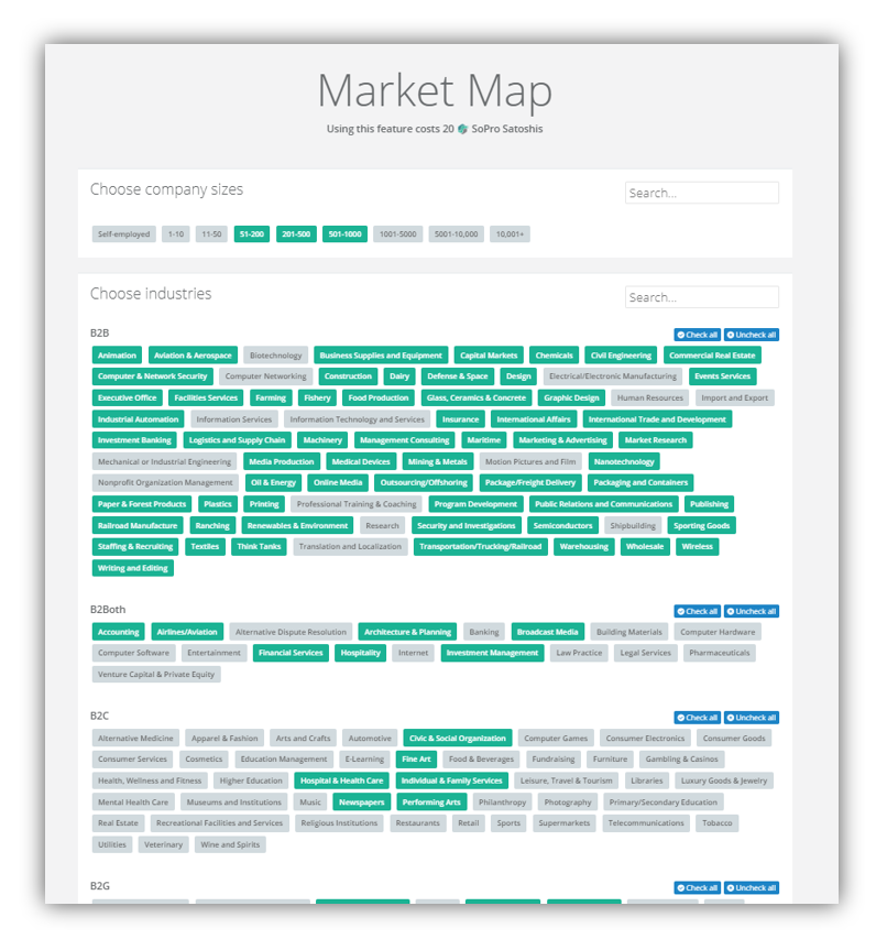Sopro market mapper tool - Helps you define your potential prospecting pool based on factors such as target company size, industry and target job role.