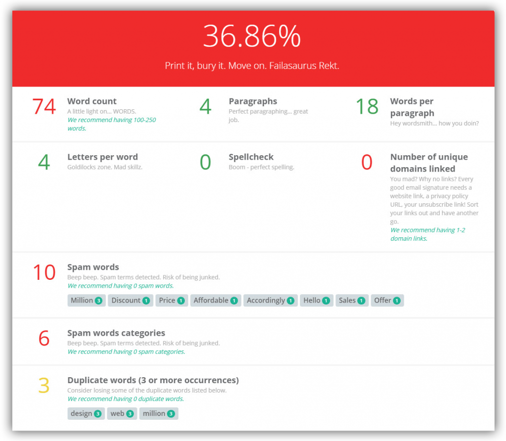 Email Awesomeness Checker - Checks your email copy and ensures it goes beyond awesome