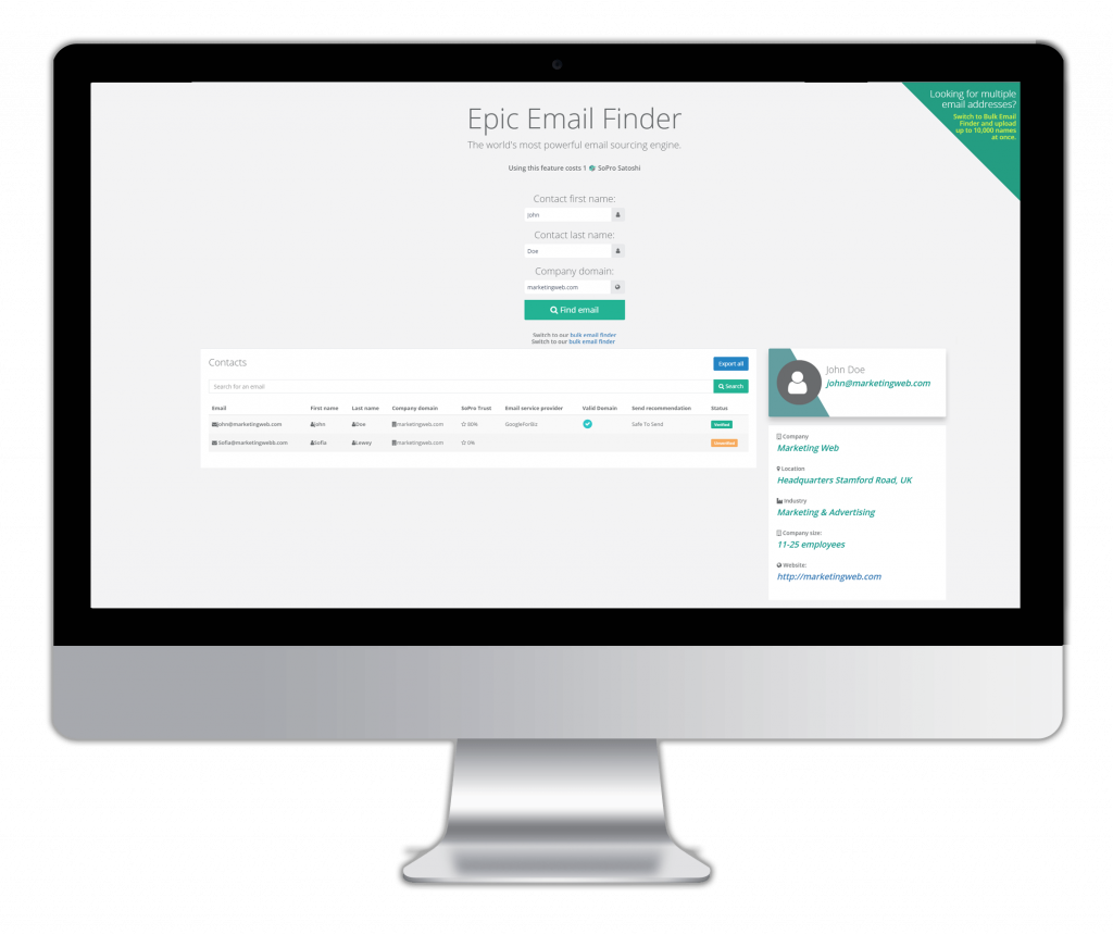email finder - Finds any email address in seconds. Batch source up to 10,000 email addresses in one go, It's totally free to use.