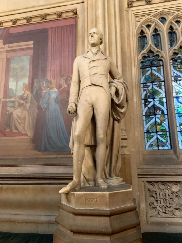 A statue of William Pitt the younger (British Prime Minister has been appointed at the age of 24) - Houses of Parliament. Statues in St Stephen's Hall in the palace of Westminster.