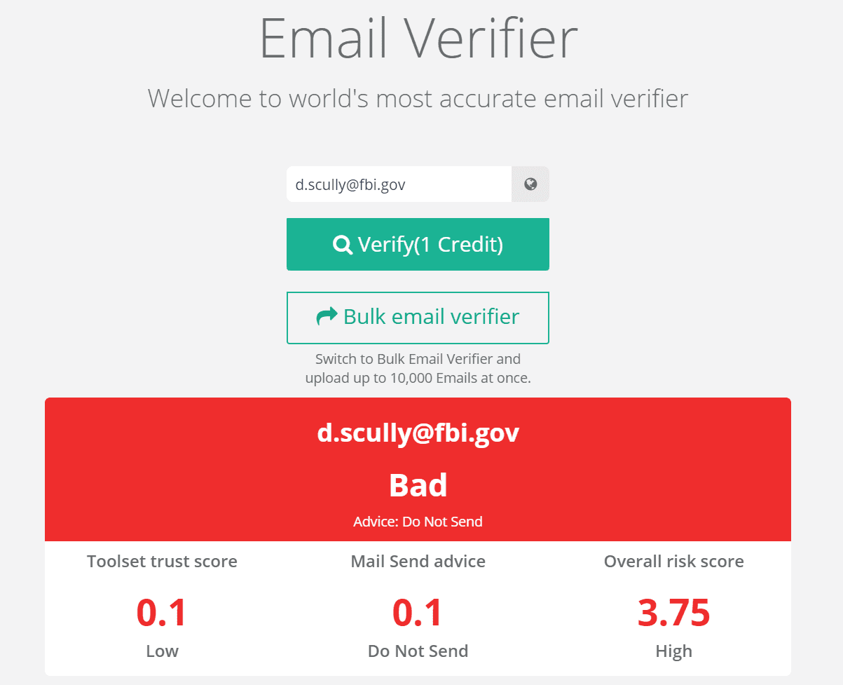 email verifier screenshot