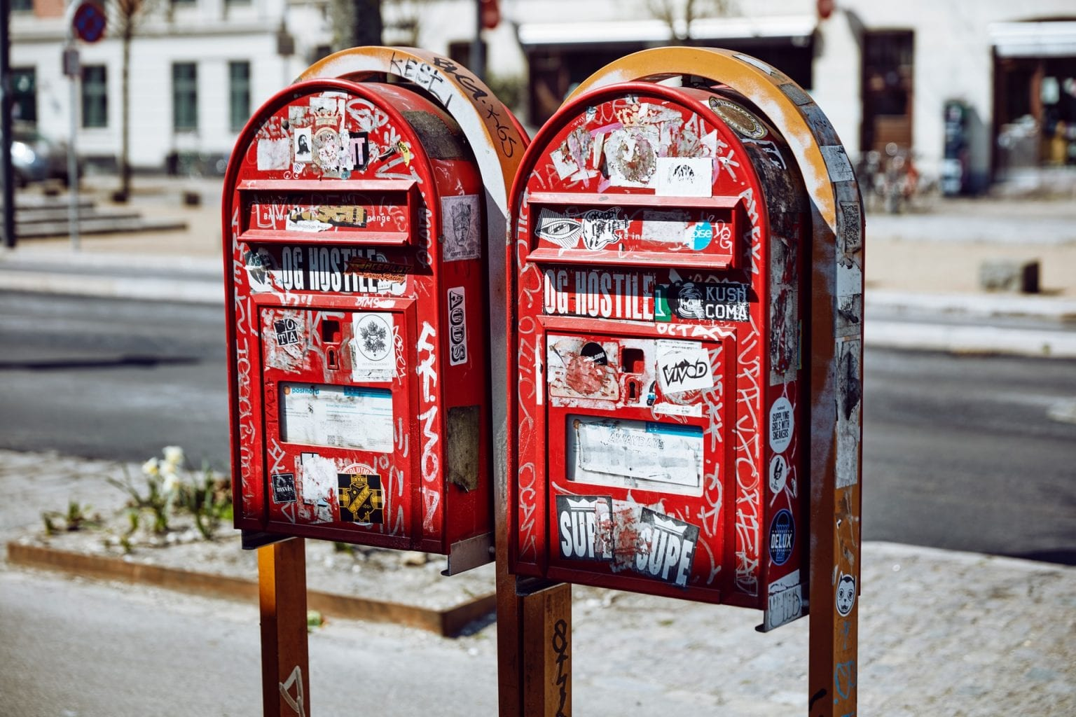 Two red mail boxes in Denmark