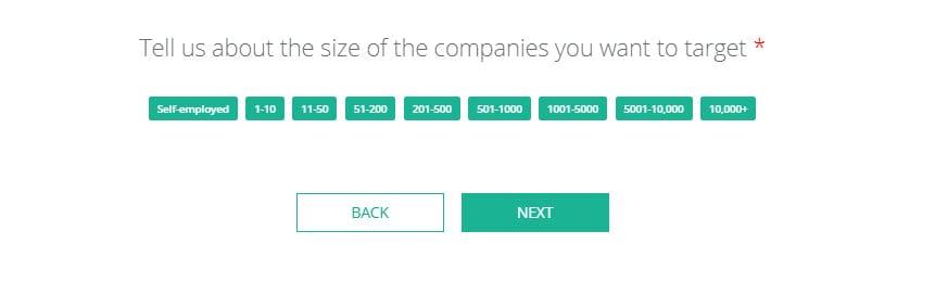 Company sizes, split by group