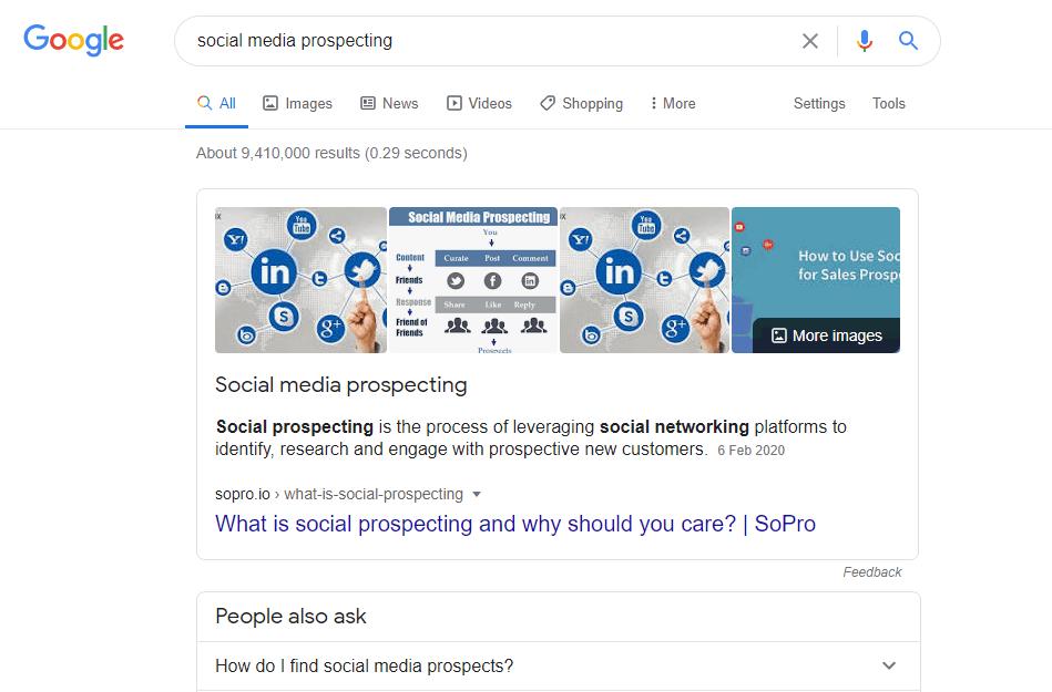 screenshot of a google serp for social prospecting