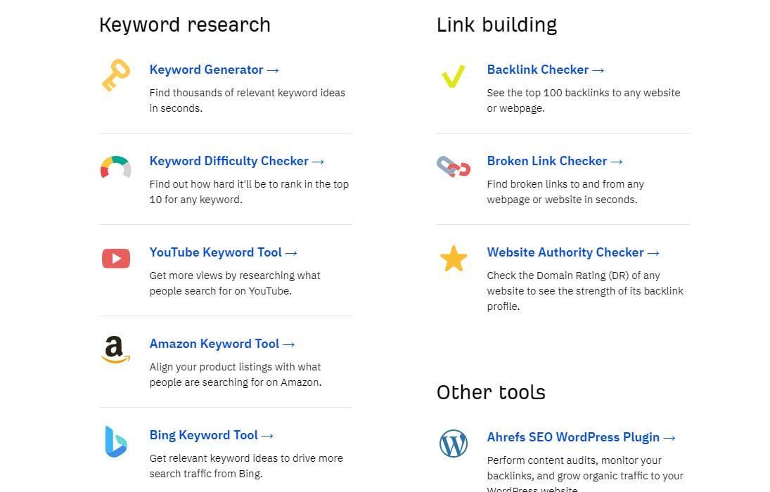 Screenshot of AHrefs free marketing tools