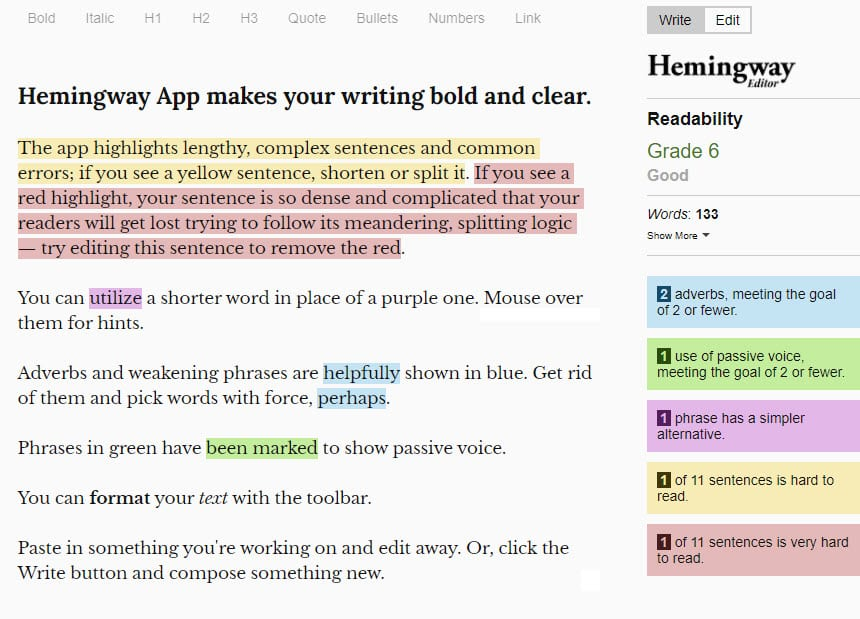 Hemmingways free app for content