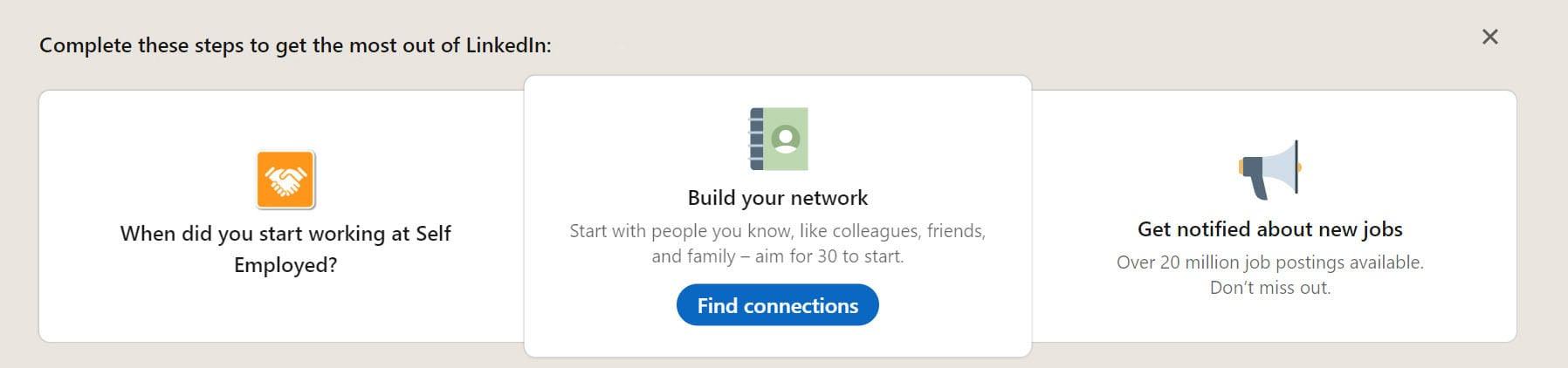 A screenhot of LinkedIn during account setup